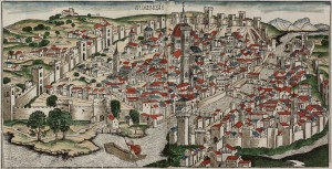 Colored_woodcut_town_view_of_Florence_ by Hartmann Schedel, published in 1493